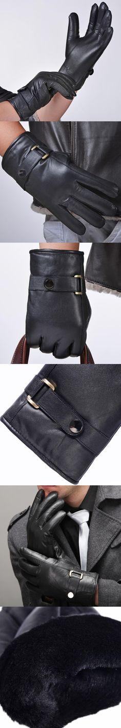 2015 autumn winter men gentlemen classic Belt Buttons soft lining Russia England  leather driving warm sheepskin gloves mittens