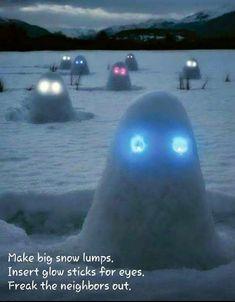Snow Pranks - No snow where I live but I found this so funny I had to share for those of you that do.