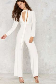 Billy Pussy Bow Jumpsuit - Rompers + Jumpsuits : Long Sleeve