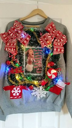 Ugly sweater get together Saturday of December Maker your sweater no store bought or redo's Kids included! Homemade Ugly Christmas Sweater, Diy Ugly Christmas Sweater, Ugly Sweater Party, Xmas Sweaters, Tacky Christmas Party, Christmas Outfits, Christmas Ideas, Holiday Fun, Christmas Stuff
