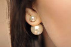 kolyczki-perły #pearl #earrings #earring #doublepearl