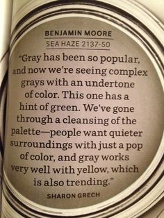Benjamin Moore Sea Haze (looking for a color that will go with BM Nantucket Gray hall