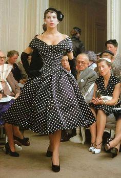 Christian Dior, Porto Rico dress - 1954 - Haute Couture - Model: Dior house model Victoire - Paris - Photo by Mark Shaw