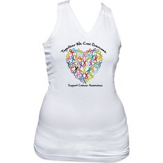Together We Can Overcome  Support Cancer Awareness Junior's Racer Back Tank Top  featuring colorful awareness ribbons shaped into a heart to support a variety of cancer causes $19.99 awarenessribboncolors.com #cancerawareness #awarenessribbons