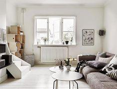 White Rooms x Black Kitchen: Scandinavian Home, Sweden – Design. Interior Design Shows, Scandinavian Interior Design, Apartment Interior Design, Bright Apartment, White Apartment, Duplex Apartment, Living Room Decor, Living Spaces, Living Walls
