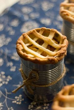 Apple pies in recycled tin cans http://adventurescooking.blogspot.com/2011/10/apple-pie-in-can.html
