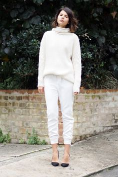 Love the monochromatic look made interesting with d'orsay flats and textured sweater.