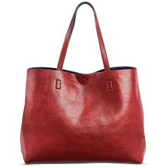Under One Sky Women's Faux Leather Tote Handbag with Magnetic Closure ($35) ❤ liked on Polyvore featuring bags, handbags, tote bags, red handbags, vegan reversible tote, purse tote, man bag and vegan tote bags