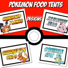 Pokemon Food Tents Printable - Simply print, cut out, and fold. This listing is for digital download. You will receive a printable JPEG or PDF file no physical item will be shipped. You will be responsible for printing your item(s). Food tent measure 2.65 x 4 when folded Charmeleon Chips Charizard Flames Jigglypuff Jello Squirtle Spit Receive a high resolution JPEG or PDF file for printing. 4 tents print per page. Can be printed on a full sheet 8.5x11 card stock paper at home or a copy…
