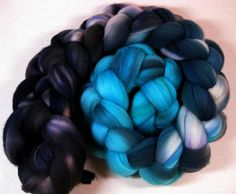 Turquoise & Onyx merino wool top for spinning and felting (4 ounces)