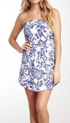 Billabong Strapless Floral Print Dress