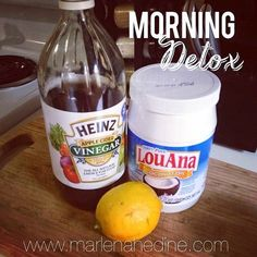 Morning Detox Drink. Ingredients: Warm water. spoon full of coconut oil. Add 2 Tbsp of Lemon Juice Add 2 Tbsp of Apple Cider Vinegar Optional: a little honey or cayenne pepper For an extra metabolism boost.