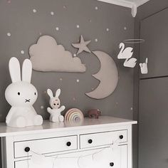 Cloud, Moon and Star Wall Decoration in Mint by Cam Cam Copenhagen