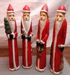 4 Vintage Tall Skinny Santas Old World Style Light Weight Plastic