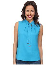 Calvin Klein Calvin Klein  Tie Neck Sleeveless Blouse Cerulean Womens Blouse for 22.99 at Im in!
