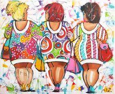 Vrolijk schilderij van dikke dames die gaan shoppen.