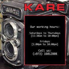 Hello Bahrain! We're happy to serve you throughout the week at these hours! Hope to see you at our showroom!  Call us: (+973) 16012808   info@iddesign-bahrain.com  www.kare-design.com
