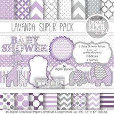 Gray Lavender Baby Purple Digital Paper background textures patterns giraffe elephant chevron polka dots frames grey invitations baby shower
