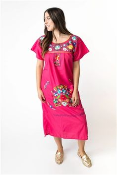 cb23e8312c9 Mexican Embroidered Pueblo Dress - Pink