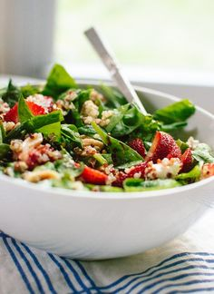 Get the recipe: strawberry and spinach salad with quinoa and goat cheese.                  Image Source: Co...