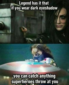 What it usually means: Makeup applied to the eyelidWhat it means to a Marvel fan: Eye makeup worn in dark colors by particularly emo and fabulous villains