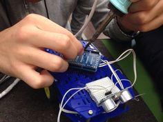 Scheda arduino e sensore ultrasuoni.
