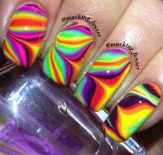 Water Marble Nail Art Designs And Ideas Nail Art Designs 2016, Marble Nail Designs, Fingernail Designs, Cute Nail Art Designs, Water Marble Nail Art, Marble Art, Nail Art Techniques, Finger Nail Art, Rainbow Nails