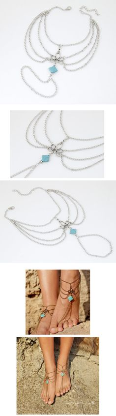 Vintage Silver Color Ankle Bracelet Foot Jewelry Turquoise Barefoot Sandals Anklet For Women Tornozeleira Chaine Cheville Bijoux