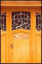 Door of Horta Museum in Art Nouveau style. Brussels, Belgium (color)