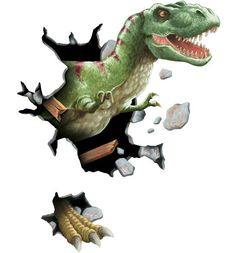 Image result for dinosaur pictures coming through wall