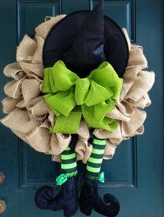 Witch Burlap Halloween Wreath by tiffanynewcomb on Etsy