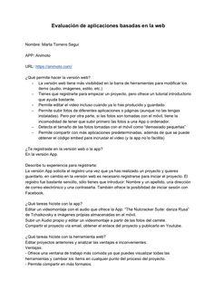 Evaluación de la aplicación Animoto