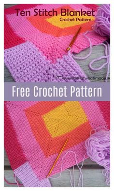 The Ten Stitch Blanket Free Crochet Pattern is the perfect pattern for using up any and every scrap of yarn in your house. Crochet Afghans, Tunisian Crochet, Crochet Blankets, Crochet Bedspread, Scrap Yarn Crochet, Wire Crochet, Crochet Geek, Easy Crochet, Crotchet Patterns