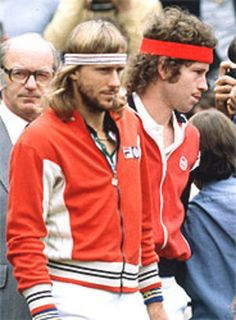 Björn Borg and John McEnroe. Tennis is thrilling now.but I am so glad I was alive and just starting out when this match-up took place. TALK ABOUT THRILLING, just in a whole different way. Tennis Gear, Le Tennis, Sport Tennis, Bjorn Borg, Wimbledon, Roger Federer, St Etienne, Tennis Legends, Sports Personality