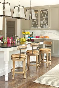 How many stools can fit in your kitchen- also gives the correct height of stool based on your counter height.