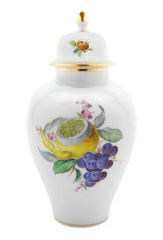 Vase, 2 fruits, gold rim, H 24,5 cm