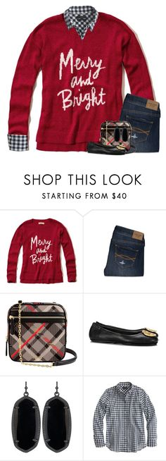 """Can't believe it's already Christmas Eve "" by your-daily-prep ❤ liked on Polyvore featuring Hollister Co., Abercrombie & Fitch, Vera Bradley, Tory Burch, Kendra Scott and J.Crew"