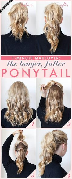 Cute Idea to give hair length. Wonder if it looks weird from th Double ponytail. Fuller Ponytail, Double Ponytail, Perfect Ponytail, Lazy Girl Hairstyles, Hairstyles For School, Ponytail Hairstyles, Cool Hairstyles, Hair Ponytail, Bangs Updo