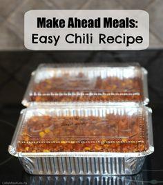 Make Ahead Meals: Easy Chili Recipe #FreezerMeals