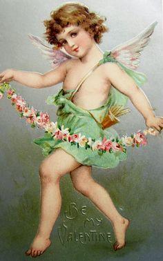 So pretty Vintage cupid Valentine postcard by Frances Brundage Victorian Valentines, Vintage Valentine Cards, Funny Valentine, Valentine Crafts, Vintage Cards, Vintage Paper, Floral Vintage, Look Vintage, Vintage Images