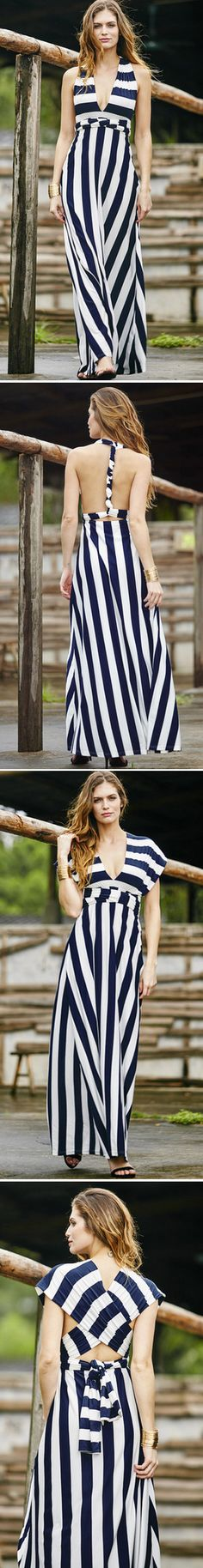 love the versatility of this striped maxi dress. So many different ways to wear it!
