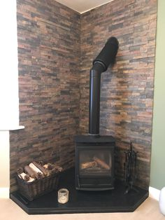 Our rustic split face has created the perfect backdrop to this cosy corner. Wood Stove Hearth, Log Burner Fireplace, Diy Fireplace, Wood Burner, Fireplace Design, Corner Log Burner, Wood Burning Stove Corner, Corner Stove, Wood Burning Fires