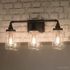 Ambiance Luxury Industrial Bathroom Light, x with Shabby Chic Style, Aged Pipe Design,Antique Black Finish (steel-glass) Industrial Bathroom Lighting, Industrial Light Fixtures, Industrial Bedroom, Bathroom Light Fixtures, Industrial House, Bedroom Lighting, Vanity Lighting, Vintage Industrial, Bathroom Lights Over Mirror