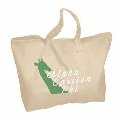 Alpha Epsilon Phi Mascot Zippered Tote Bag #alphaepsilonphi #sororitytote