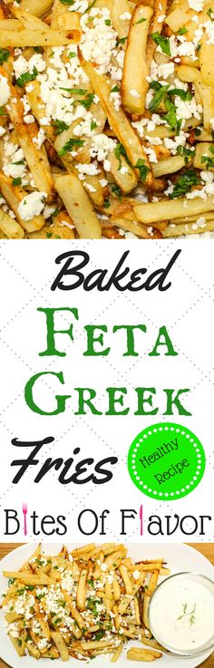 Baked Feta Greek Fries-Perfect lighter version of cheese fries. Crispy baked fries topped with tangy feta cheese. Delicious, easy to make, & the perfect side dish for any meal! Weight Watcher friendly (4 SmartPoints).