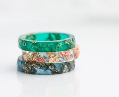 Emerald Green Resin Stacking Ring Gold Flakes Thin by daimblond