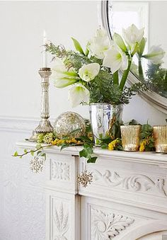 Lovely Holiday Mantel.  Could maybe use some Red Berries.