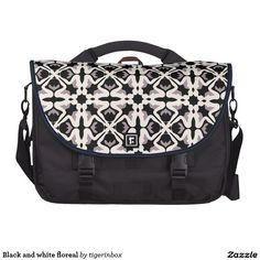 """Rickshaw Commuter Laptop Bag with modern Black and white pattern (created by the silhouette of a seating girl). Made with a pocket or compartment for everything from a 15"""" laptop to a journal, this laptop bag will make it easy to take it all with you each day.  Water resistant, extra durable construction Holds up to 15"""" laptop (sleeve included) 2 large front pockets and rear organizational pocket Magnetic silencers, Velcro, and clip flap fasteners $202"""