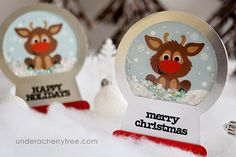 Under A Cherry Tree: Free Baby Sven {Reindeer Snow Globe Shaker Card}