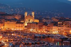 Bastia by night, Corsica, France French Riviera, City Lights, Far Away, Old Town, Places To See, Countryside, Paris Skyline, The Good Place, Dolores Park